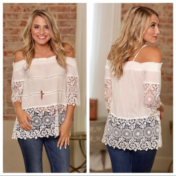 fbee1734c64493 White crochet lace off the shoulder tunic top